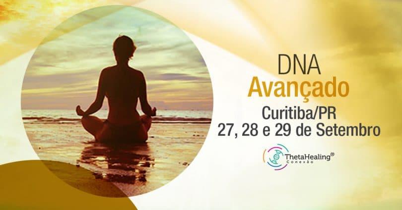 Banner com informações do Curso Thetahealing DNA Avançado em Curitiba/PR