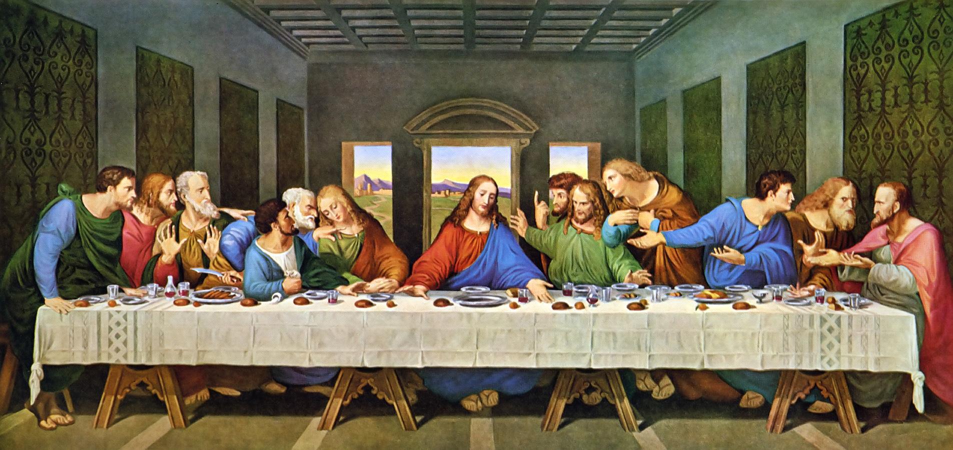 Jesus realizando a ceia com seus 12 apóstolos.