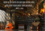 """Solidão: monge vestindo uma túnica laranja sentado no chão de um templo budista enquanto lê um livro, com a frase """"A solidão é perigosa e viciante. Quando você se dá conta da paz que existe nela, não quer mais lidar com pessoas"""" de Carl G Jung escrita em branco na parte superior esquerda da imagem."""