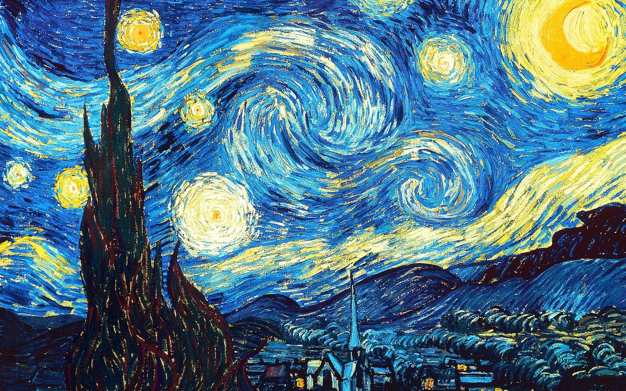 Pintura da noite estrelada em uma cidade.