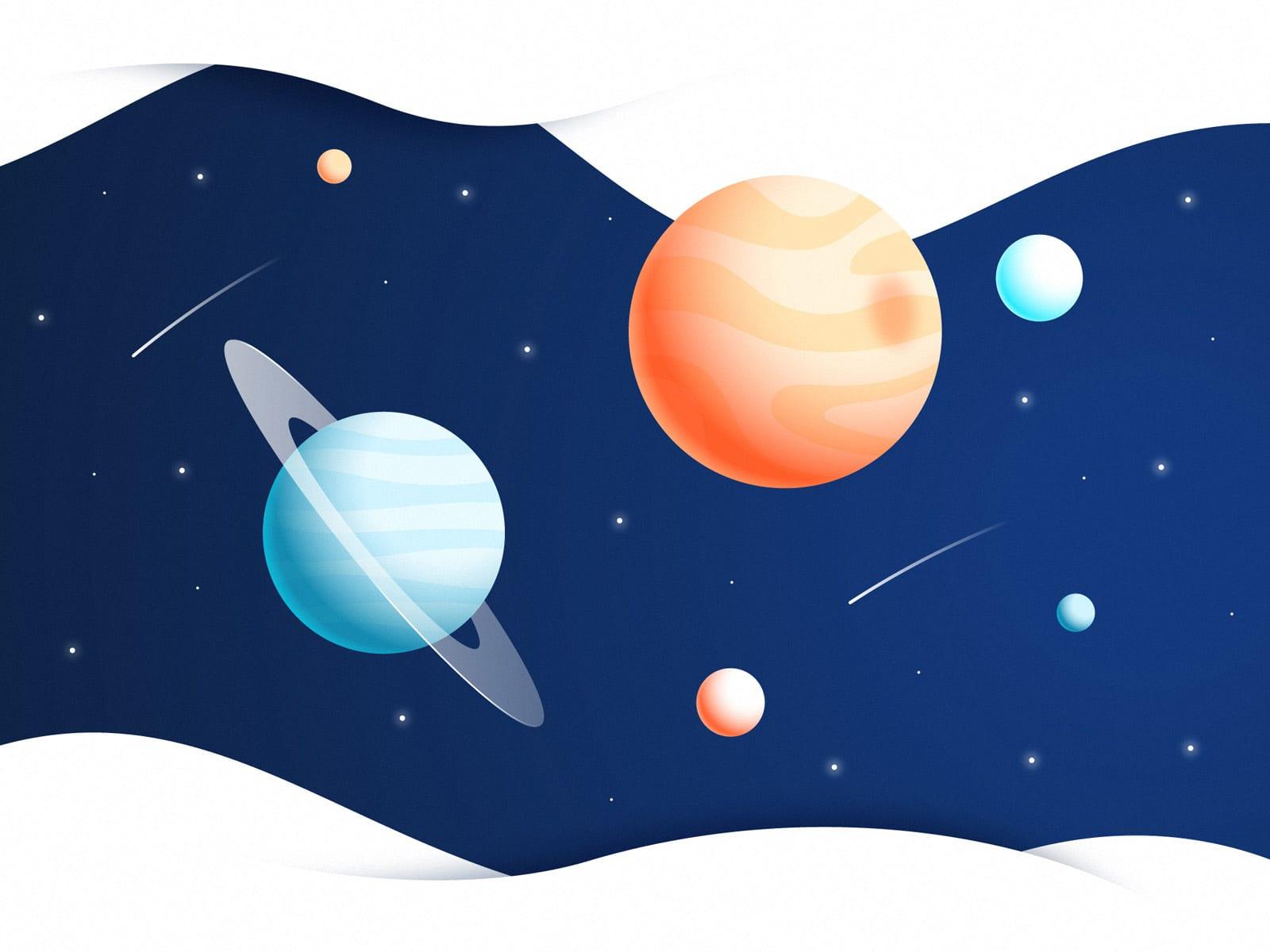 Ilustração planetas e universo