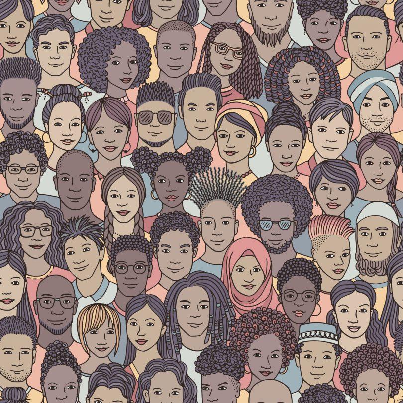 Ilustração gráfica de pessoas de diversas etnias.