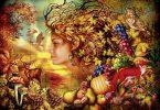 Ilustração de rosto de mulher sendo formado por plantas, frutos e legumes, em uma floresta no outono.