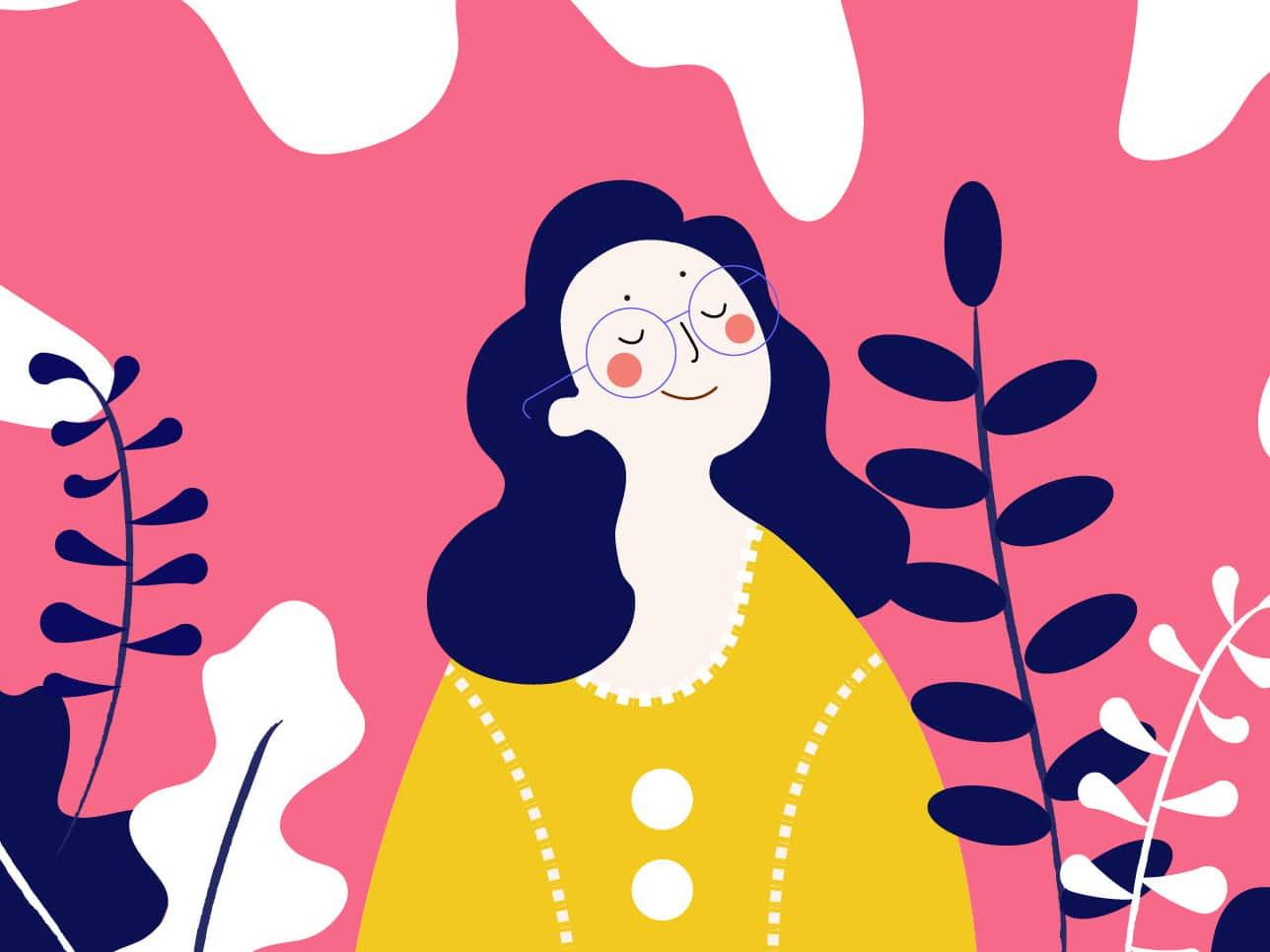 Ilustração mulher sorrindo tranquila