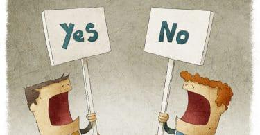 ilustração de dois empresários, cada um segurando uma placa, em uma está escrito sim e na outra está escrito não.