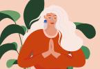 Ilustração de mulher com as mãos unidas em frente ao corpo
