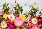 Quadro de flores sobre fundo branco de madeira. Representação da primavera.