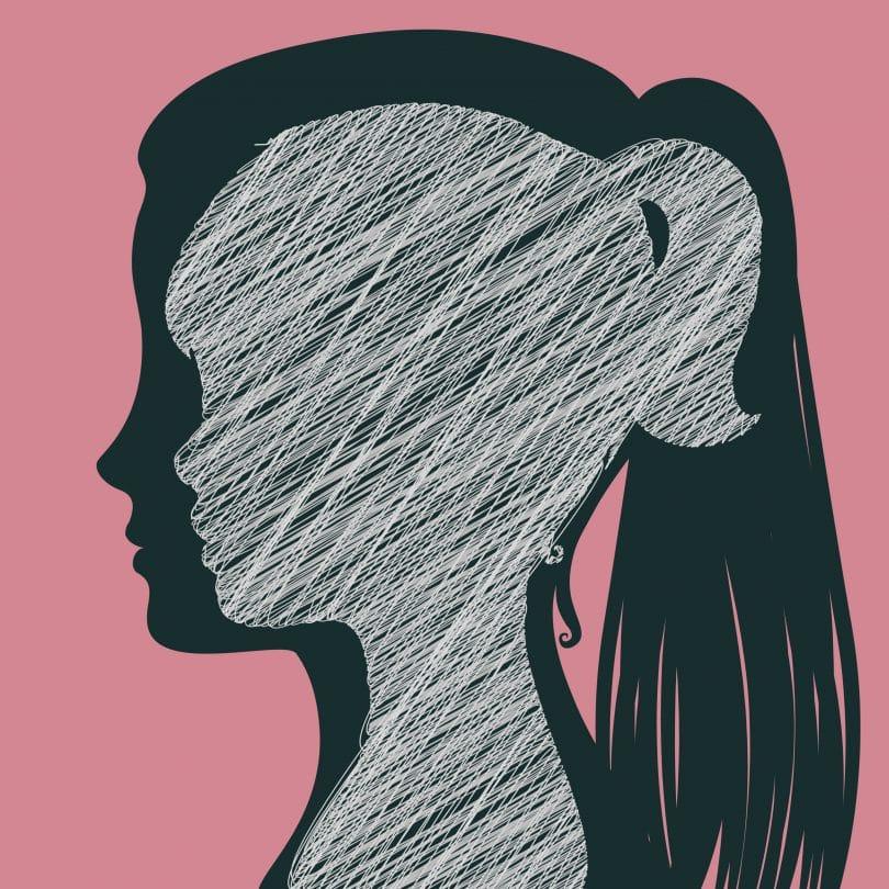 Ilustração de silhueta de menina criança feita em giz branco, desenhado dentro da silhueta de uma mulher feita em preto, ambas em um fundo rosa. Representando a criança interior.