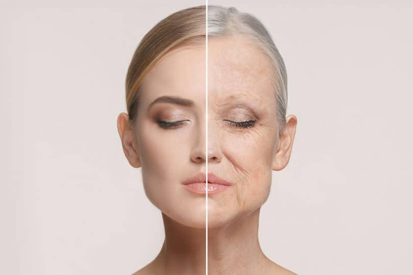 Antes e depois de uma mulher jovem e envelhecida