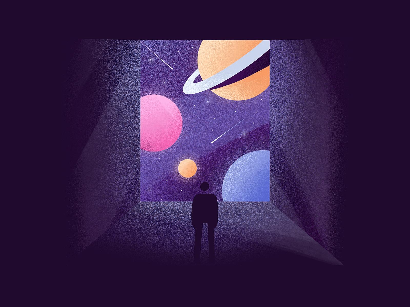 Ilustração de pessoa olhando para planetas