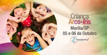 Banner com informações do evento Curso Thetahealing Criança Arco-Íris em Marília/SP