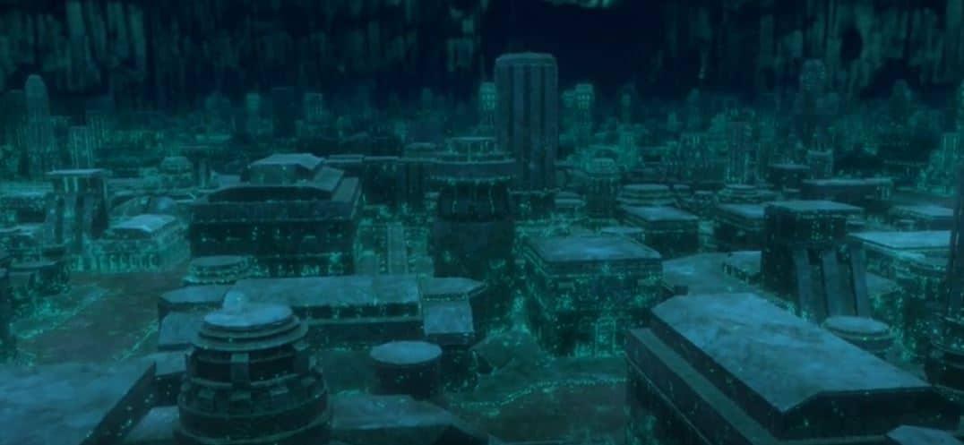 Monumentos de cidade perdida embaixo d'água