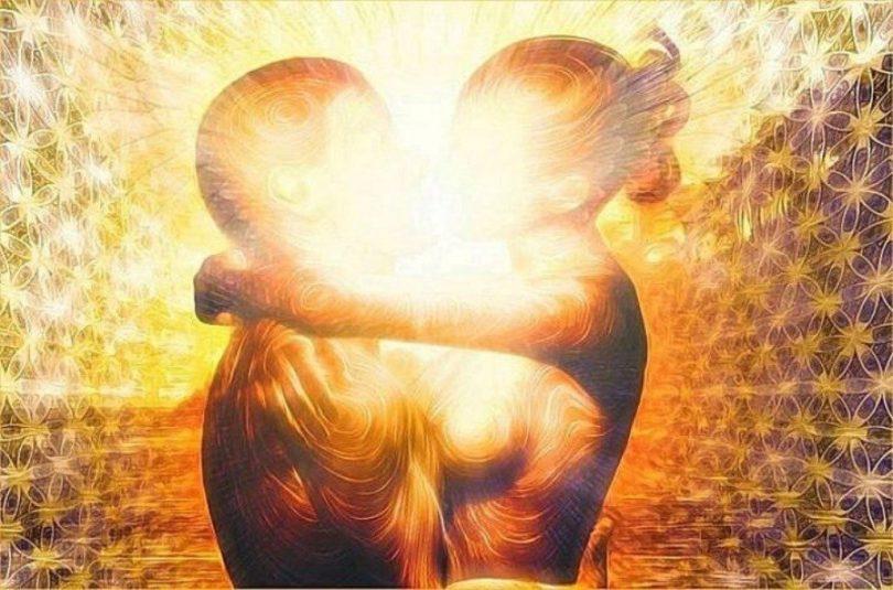 Ilustração do corpo de um homem e uma mulher se beijando.