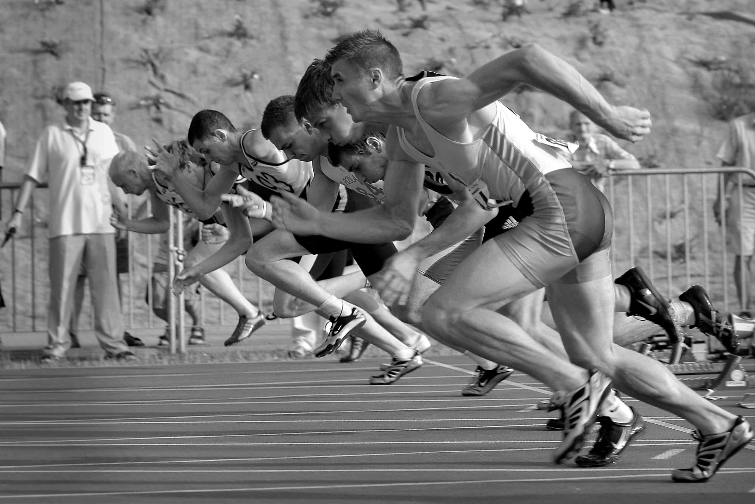 Saída de corredores competindo