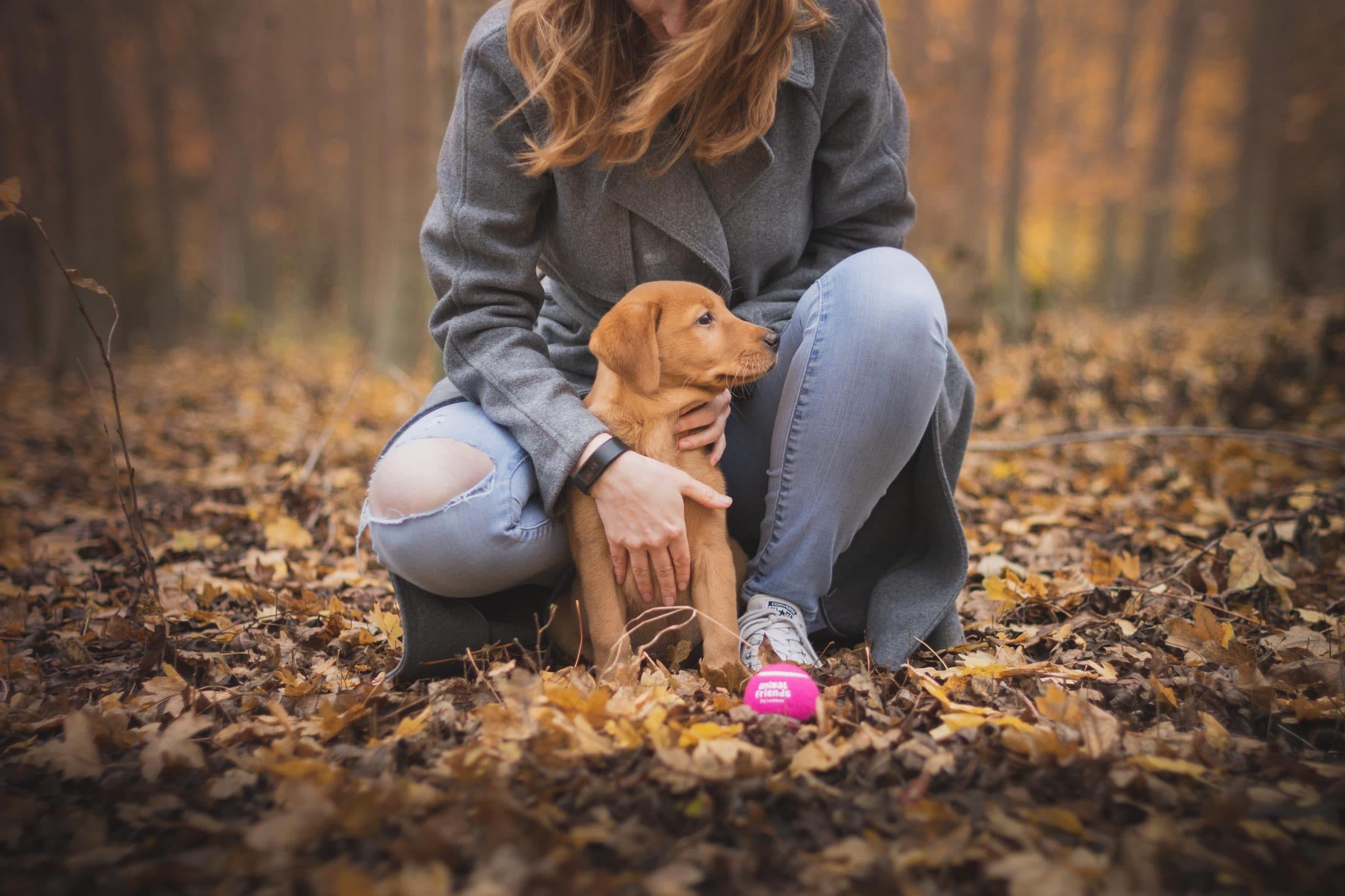 Mulher agachada com cachorro