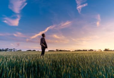 Homem em campo verde olhando para o pôr-do-sol