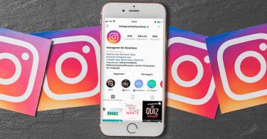 iPhone com o Instagram Business aberto com ícones da rede social ao redor.