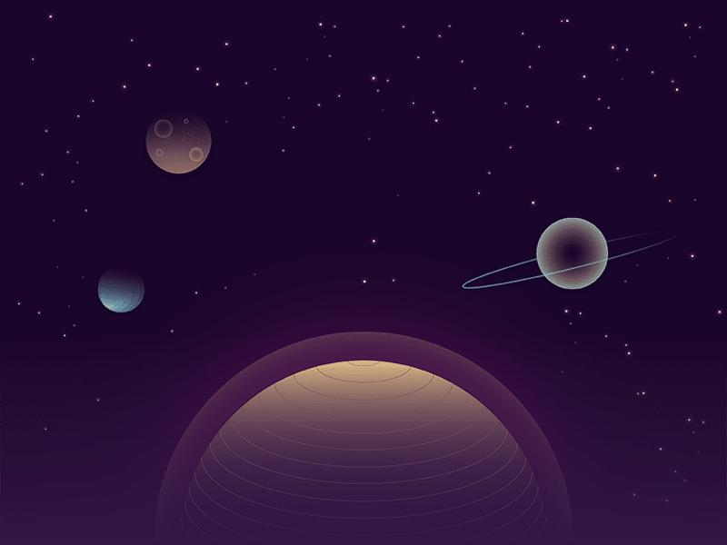 Ilustração de planetas se alinhando