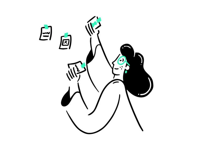 Ilustração mulher colando lembretes na parede