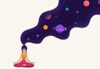 Ilustração de mulher meditando com planetas saindo de sua cabeça