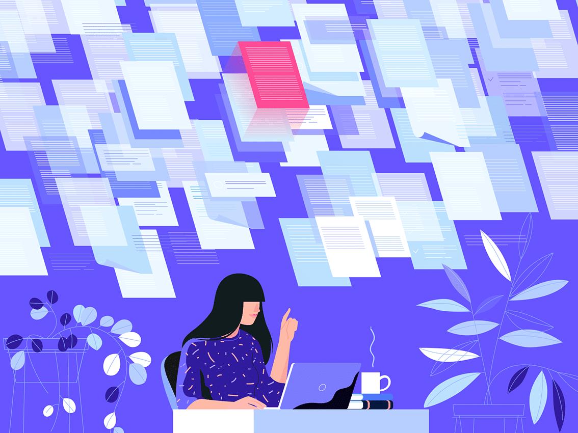 Ilustração de mulher em mesa trabalhando