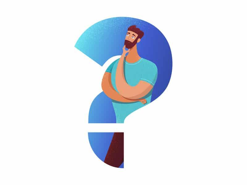 Ilustração de homem questionando em ponto de interrogação