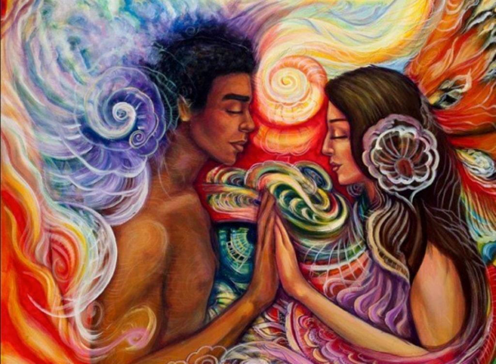 Ilustração de homem negro e mulher branca de frente para o outro.