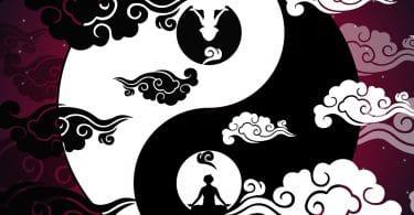 Ilustração de Yin Yang com nuvens