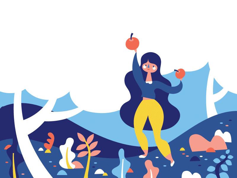 Ilustração de mulher pegando maçãs do pé