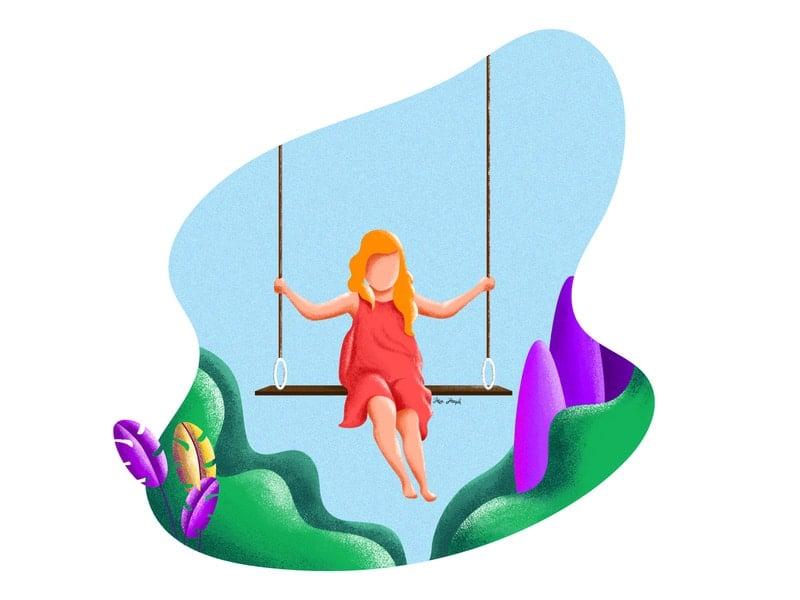Ilustração de garota brincando em balanço