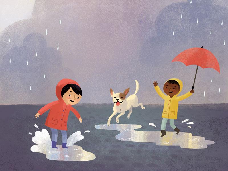 Ilustração de crianças brincando na chuva