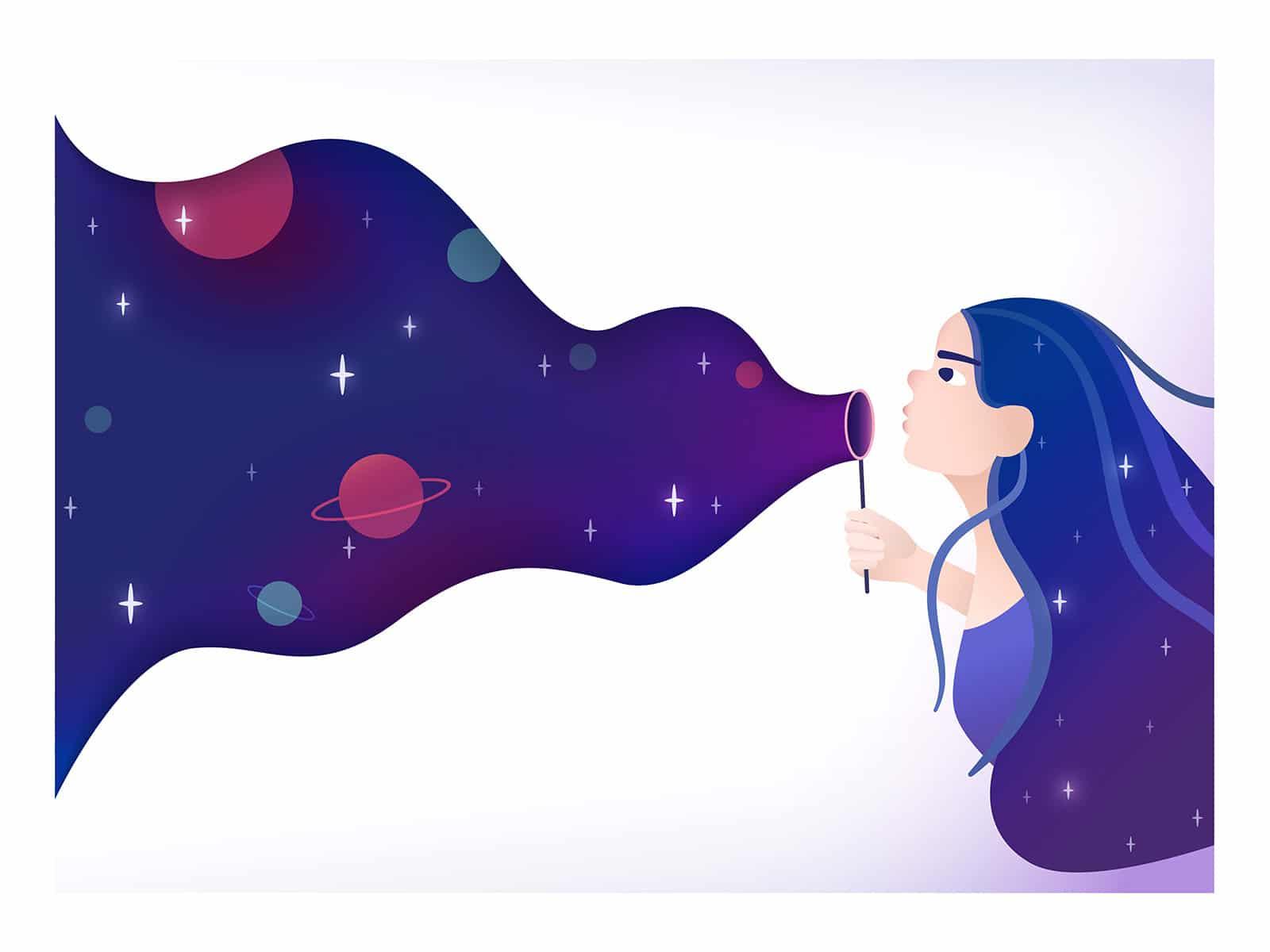 Ilustração de mulher assoprando universo