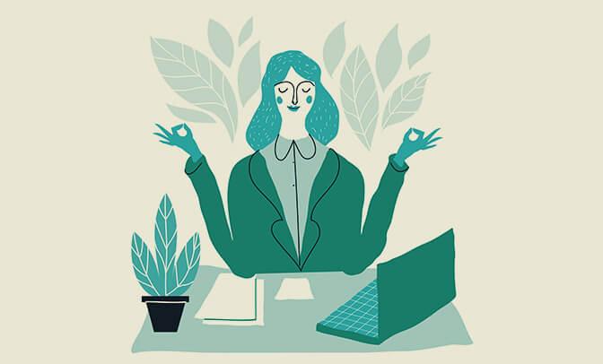 Ilustração de mulher meditando.