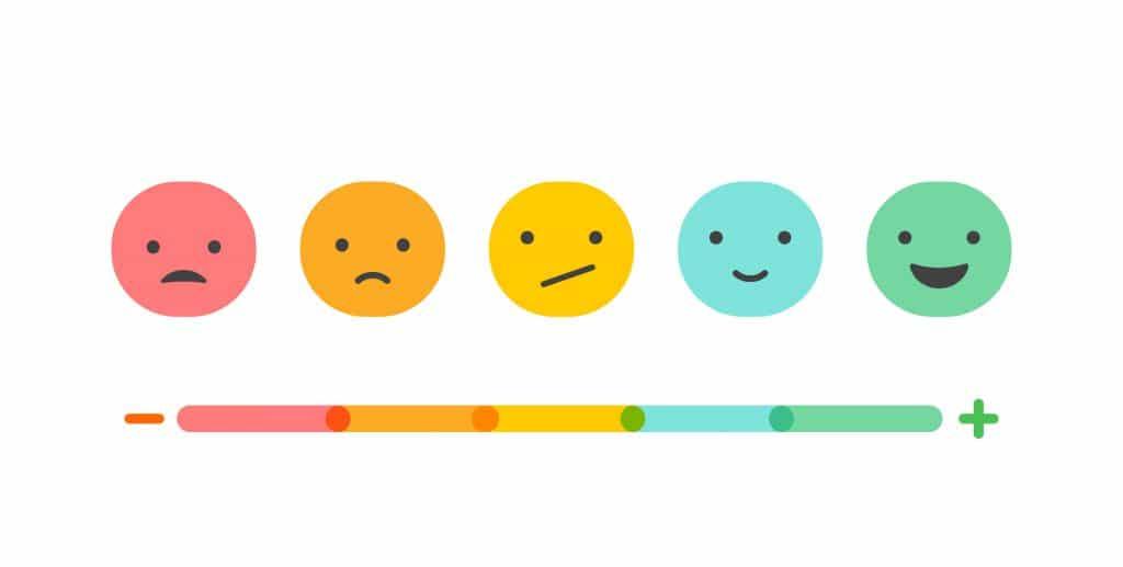 Carinhas com diferentes tipo de expressão desde triste até feliz.