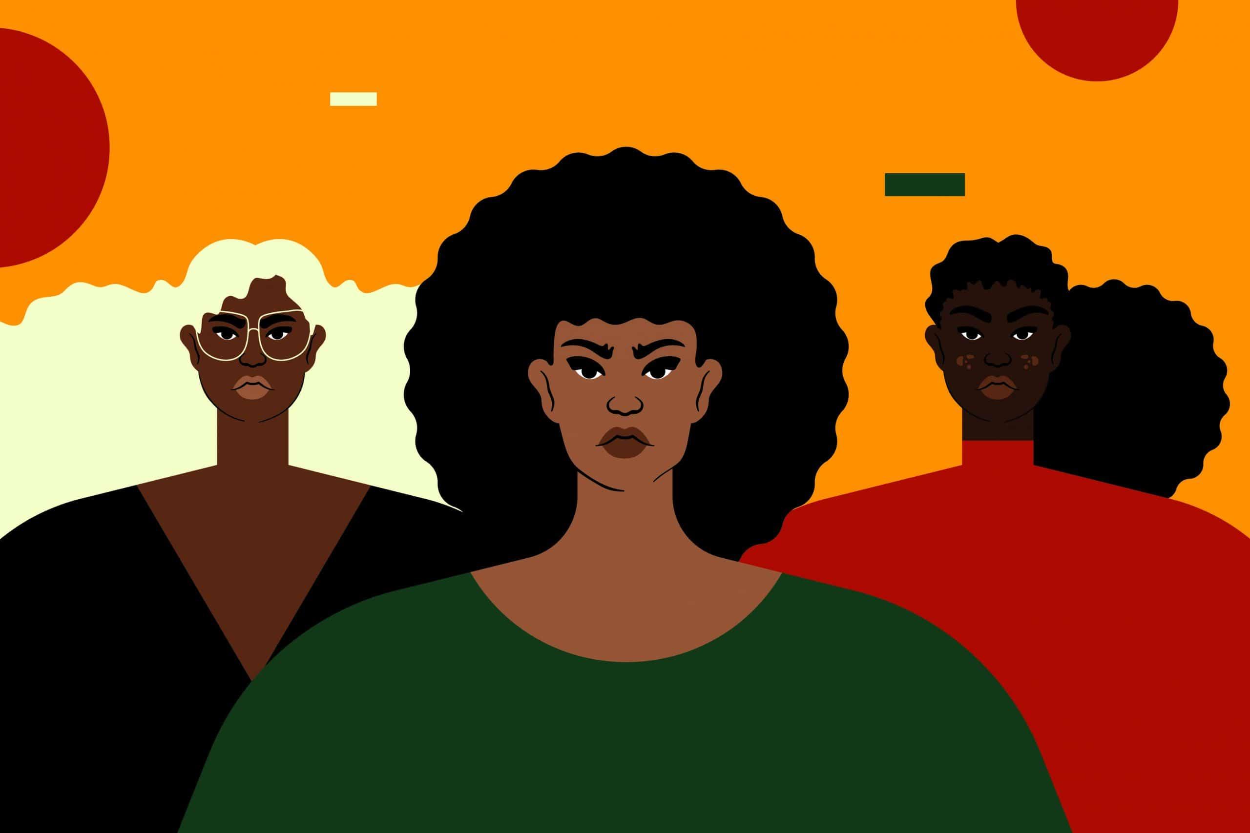Ilustração de três mulheres negras.