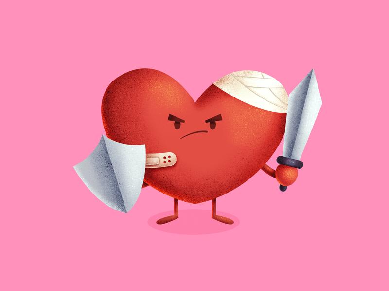 Ilustração de coração machucado com espada e escudo