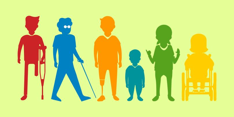 Ilustração de sete deficientes enfileirados.