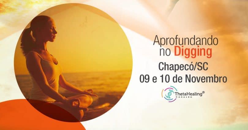 Banner com informações do Curso Thetahealing Aprofundando no Digging Chapecó/SC