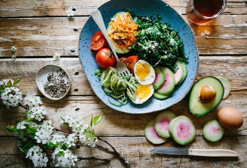 Prato vegetariano visto de cima
