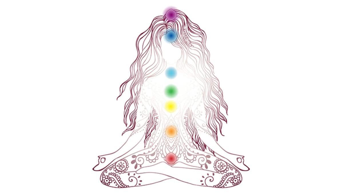 Ilustração em vetor de mulher meditando.