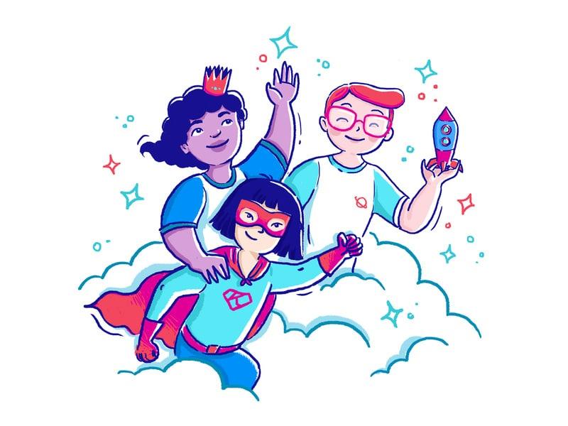 Ilustração de crianças de super heróis