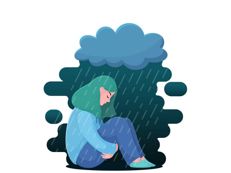 Ilustração de Garota sentada com nuvem chovendo em cima dela