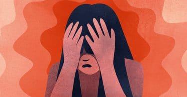 Ilustração de mulher com as mãos na cabeça