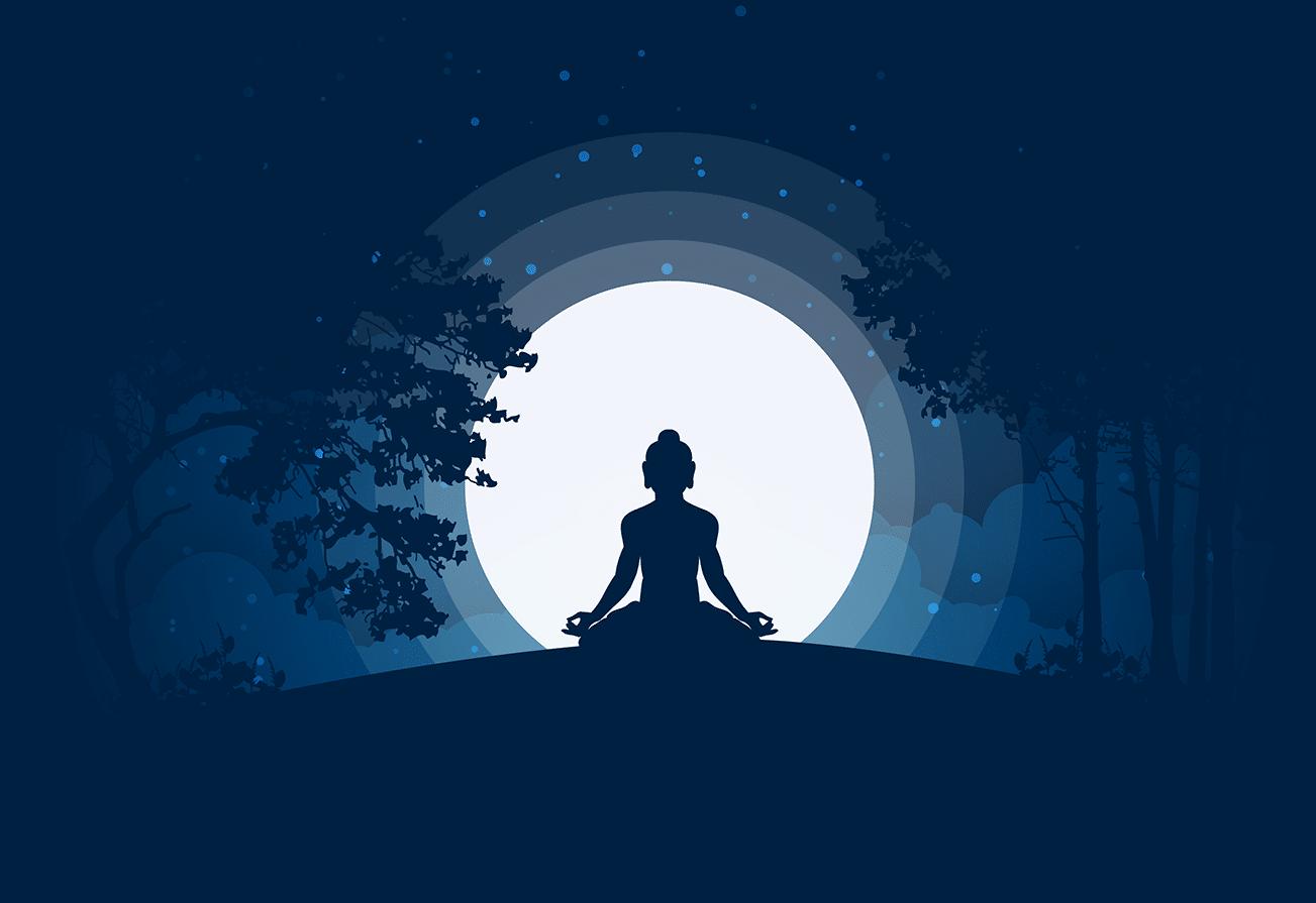 Ilustração de silhueta de buda meditando
