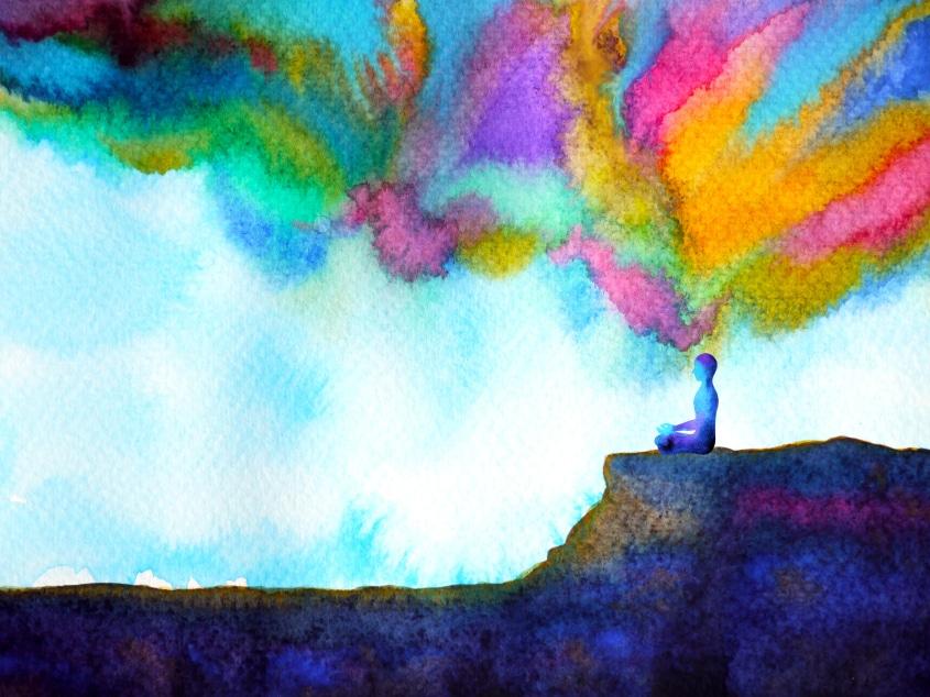 Ilustração de uma pessoa meditando em uma montanha.