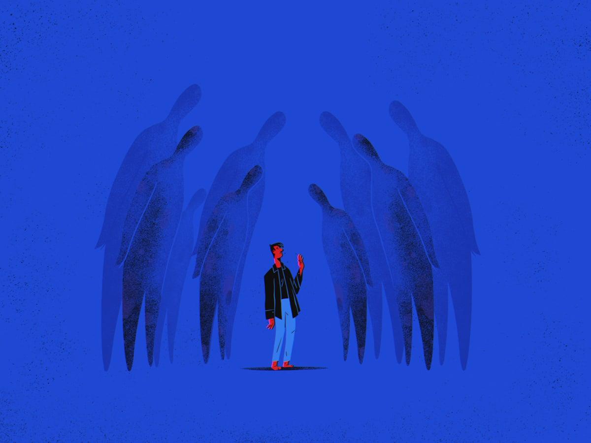 Ilustração de rapaz olhando para imagens sombrias ao seu redor