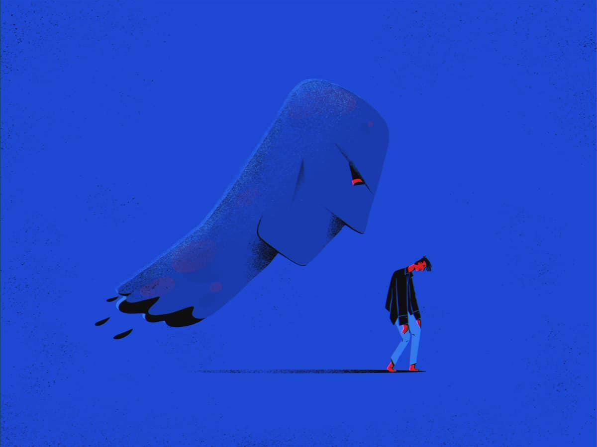 Ilustração de rapaz caminhando com imagem sombria atrás dele