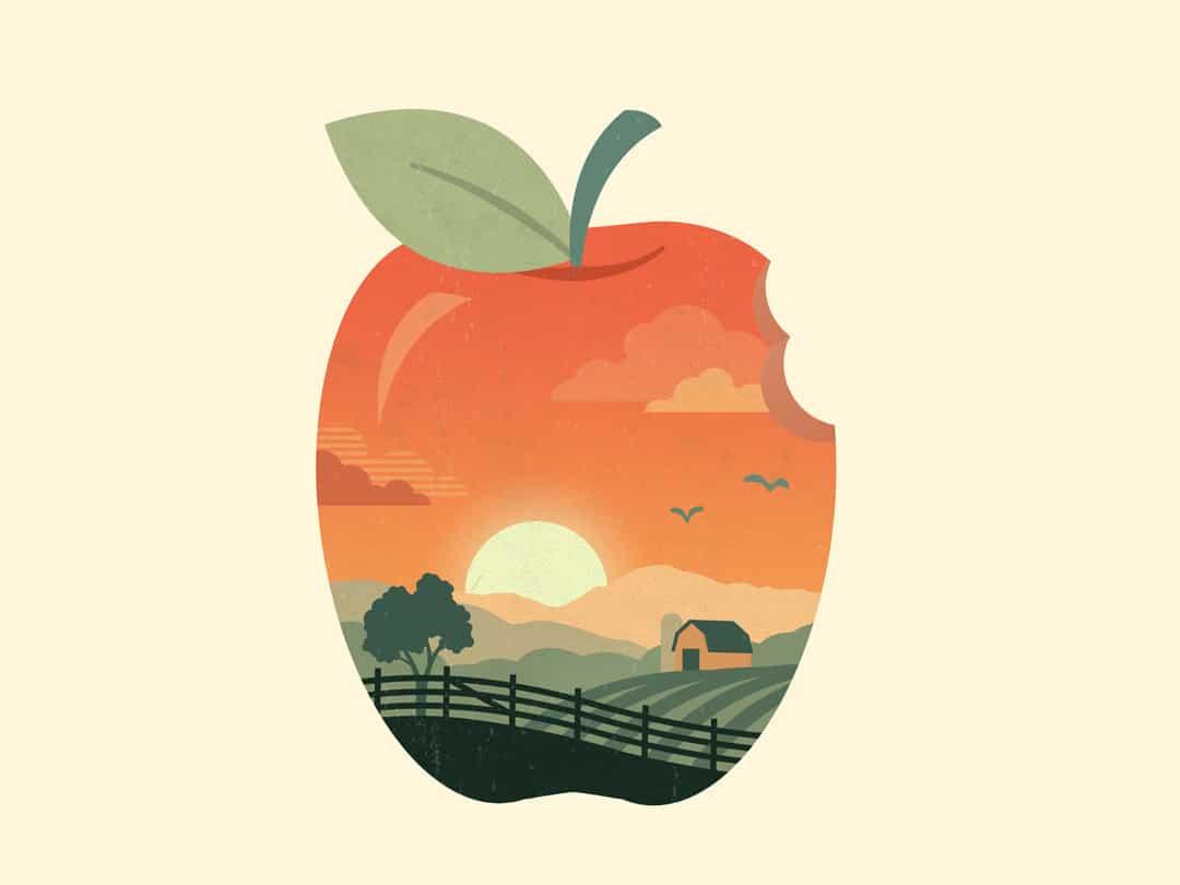Ilustração de maçã ilustrada com paisagem de fazenda