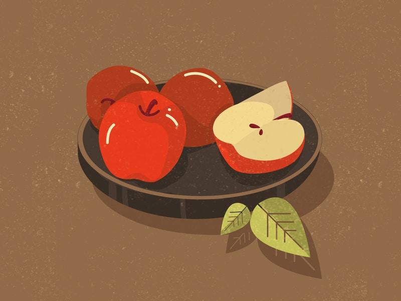 Ilustração de maçãs em prato