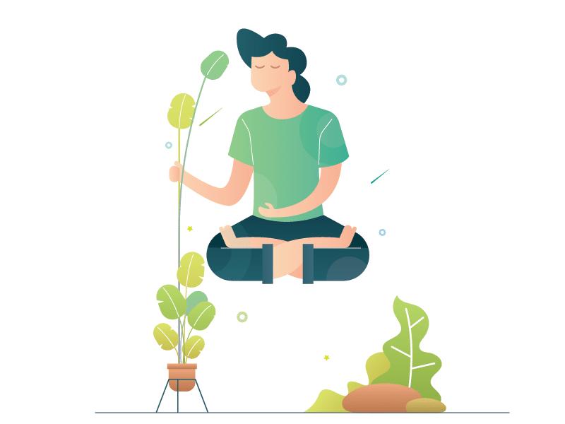 Ilustração homem meditando